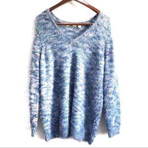 525 America Revolve Fuzzy Oversized V-Neck Sweater